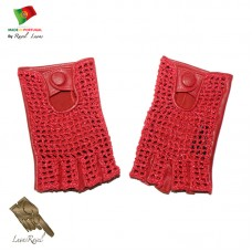 Handmade Leather Gloves With Crochet  (SLB2014)